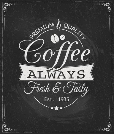 koffie label op bord vectorillustratie eps10