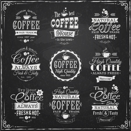 set of coffee labels on chalkboard eps10 vector illustration