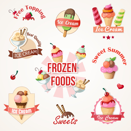 waffle ice cream: ice cream labels and badges collections eps10