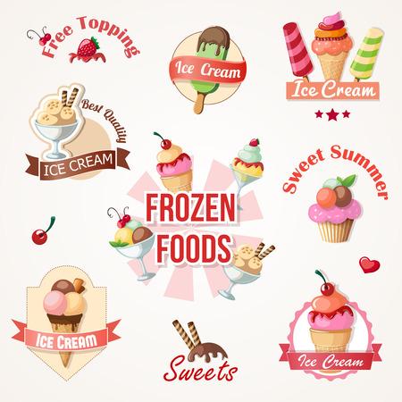 ice cream: nhãn kem và phù hiệu bộ sưu tập eps10 Hình minh hoạ
