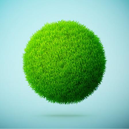 Esfera de la hierba verde en un claro fondo azul Ilustración eps10 de vectores