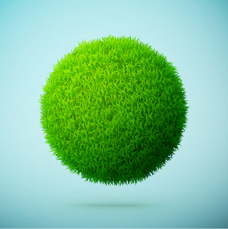 Green grass sphere on a blue clear background eps10 vector illustration Ilustração