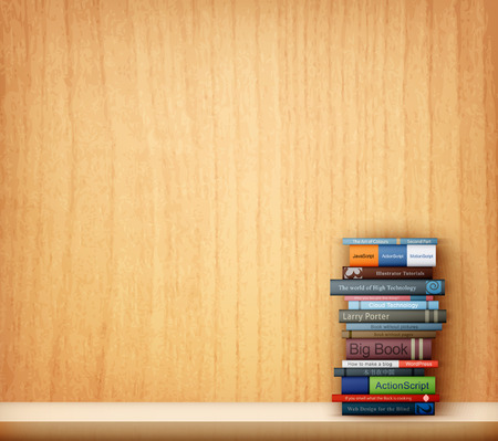 books on wooden shelf eps10 vector illustration