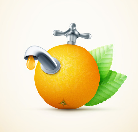 gastronomic: Orange fruit with water tap concept