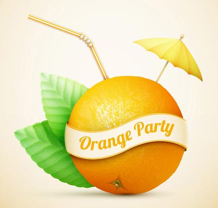 gastronomic: Fresh orange with umbrella and stick