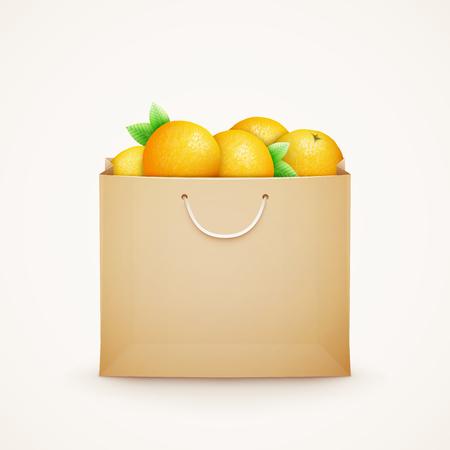 Papier sac avec des oranges
