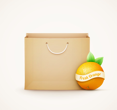gastronomic: Paper shopping bag with orange