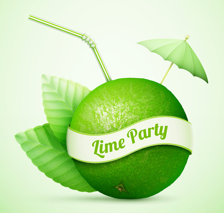 gastronomic: Fresh lime with umbrella and stick Illustration