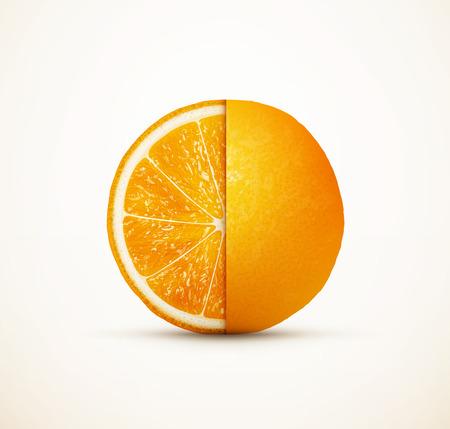 half: Fresh orange fruit cut on half
