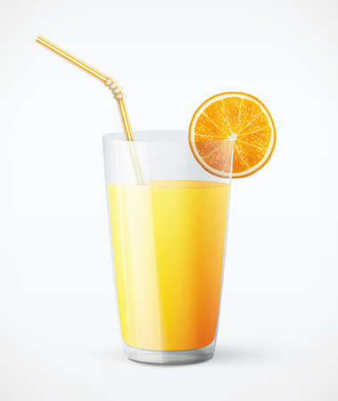 Glass of orange juice with fruit 向量圖像