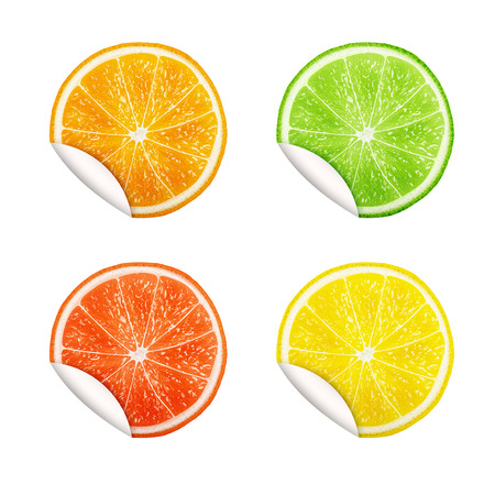 round shape: Set of citrus fruits. Orange, Lime, Grapefruit, Lemon