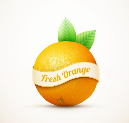 fruit orange: fruta fresca de naranja con hojas verdes