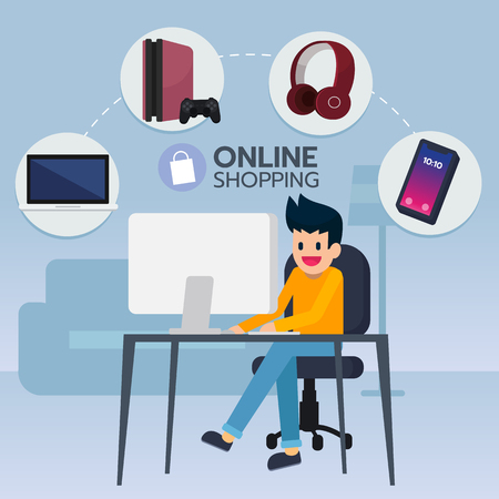Happy young man sit in front computer, search and buy electronic item, game, smartphone, notebook from e-commerce.