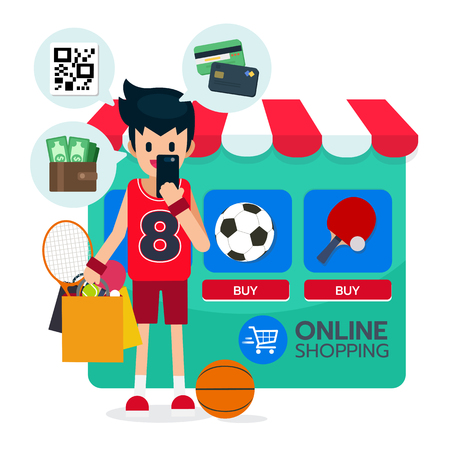Illustration vector of happy sportman stand, bag shopping with sport equipment, football, table tennis online on e-commerce background browser and online payment with credit card, wallet, QR code. Vector illustration Ilustracja