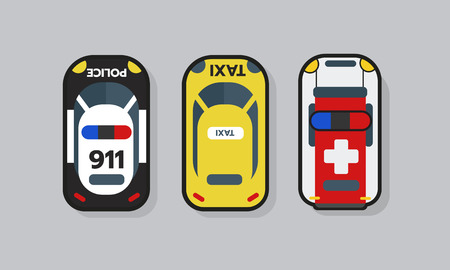 Top view 2D Game asset, police, ambulance and taxi cat resource for game design. Complete project. Vector illustration Иллюстрация