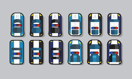 Set of police car top view 2D game asset, for traffic or racing game. Vector illustration