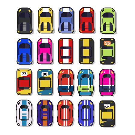 Top view 2D Game asset, Set of race street car, for game design