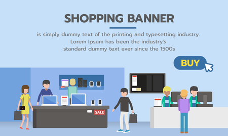 Shopping banner with buy button for shopping online. People shopping in supermarket and buying gadget products.