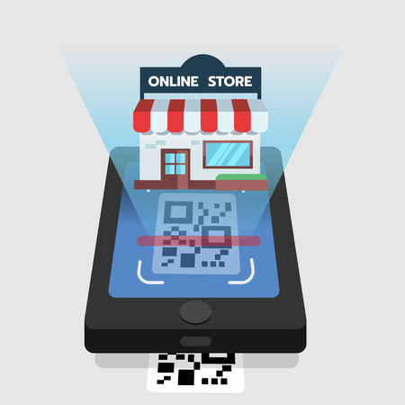 Scan QR code to mobile online store. QR technology. Flat vector illustration