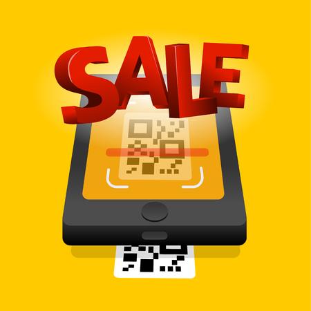 Scan QR code to mobile sale online shopping. QR technology. Flat vector illustration   イラスト・ベクター素材