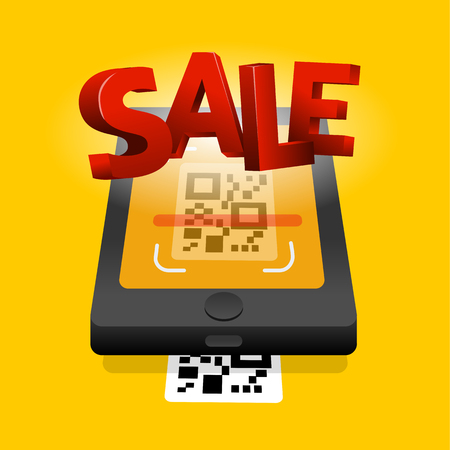 Scan QR code to mobile sale online shopping. QR technology. Flat vector illustration  Vectores