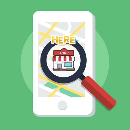 Searching directions store from map with magnifier icon from application on mobile screen. Online platform. Flat vector illustrator Vettoriali