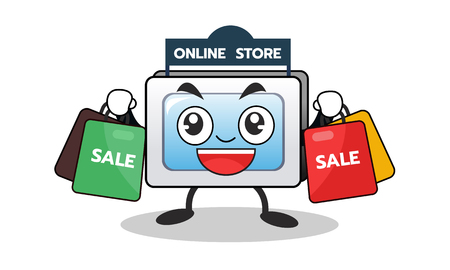Cartoon computer mascot of online shopping with shopping sale bag.