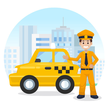 Taxifahrer in der Stadt. Gelbes Taxi. Flache Vektorillustration, Taxiservice