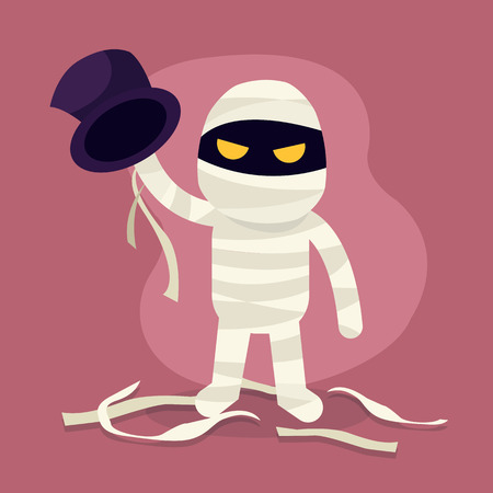 Halloween monster. Mummy horror character illustration, mummy costume. Cartoon vector  Иллюстрация