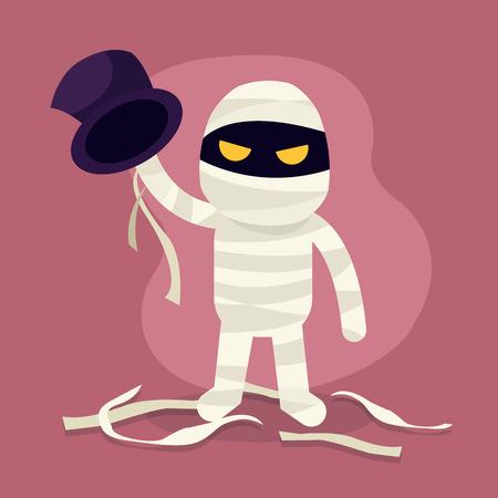 Halloween Monster. Mumienhorrorcharakterillustration, Mumienkostüm. Cartoon-Vektor