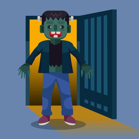 Halloween character. Frankenstein character illustration. Happy halloween. Cartoon vector, halloween monster
