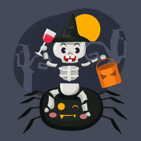 Happy Halloween. Happy  skeleton character illustration with spider on scary background, cute cartoon vector