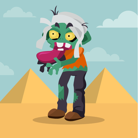 Cartoon mummy zombie, character vector