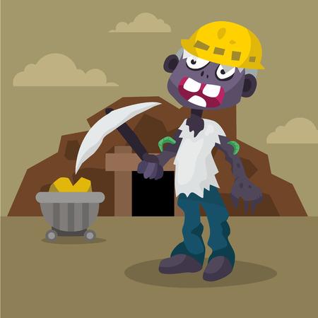 Cartoon miner worker zombie with mine cart, coal,  character vector