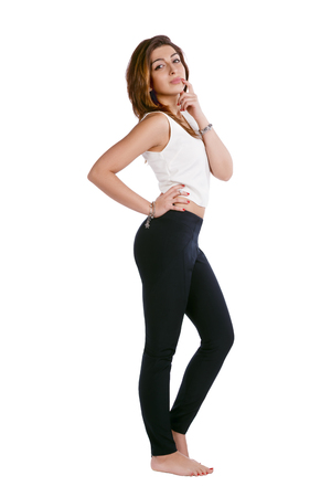 over white background: Girl posing isolated over white background Stock Photo