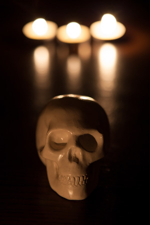 skull and fire, halloween background Stock Photo