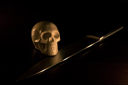 skull and knife, halloween background