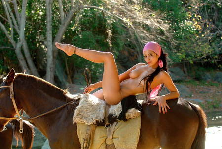 Beautiful naked brunette girl on a horse