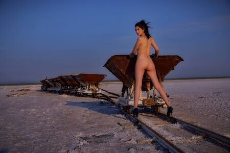 Sexy and pretty young girl on the salt flat