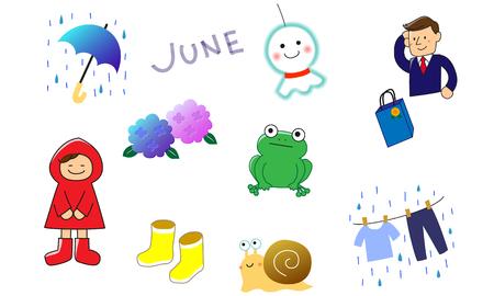 It is a set of illustration materials of rainy season Vektoros illusztráció
