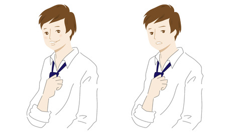 Illustration of a man with two facial expressions