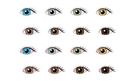 Ensemble d'illustrations d'yeux sains et d'yeux congestionnés