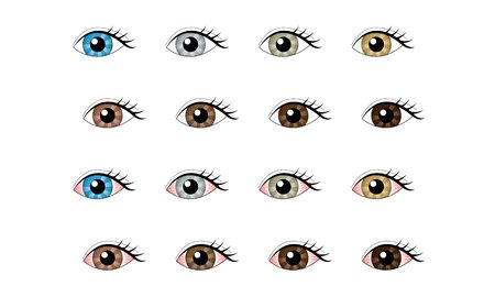 Set of illustrations of healthy eyes and congested eyes