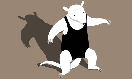 Illustration of a anteater in a threatening pose