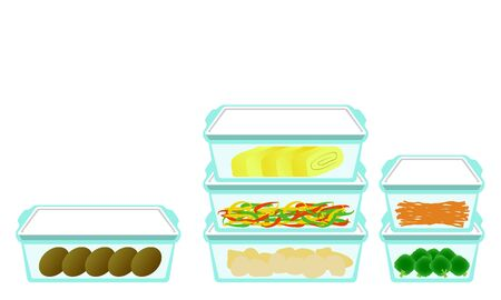 Illustration of side dishes in Airtight container 일러스트
