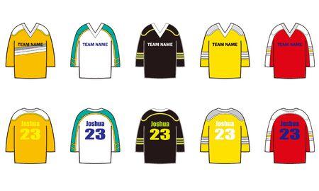 Illustration set of 5 designs hockey jersey