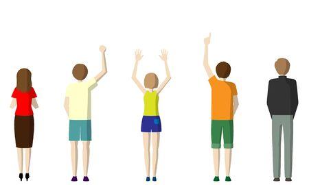 Ilustración de la espalda de personas de pie.