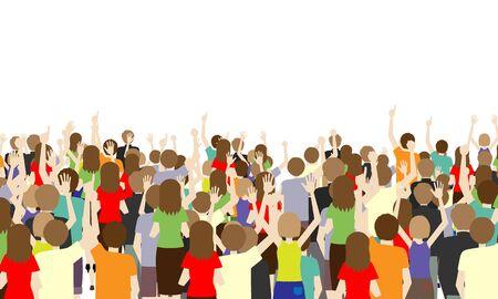 Illustrazione della schiena di molti spettatori