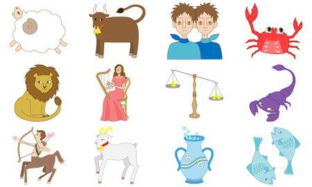 Illustration of 12 Astrology signs Illustration