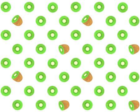 Illustration of seamless kiwifruit pattern (watercolor style)